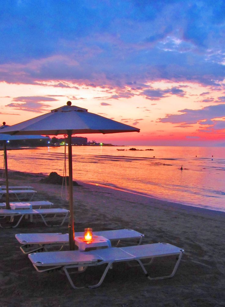 Sunset over Roda beach, Corfu, Greece