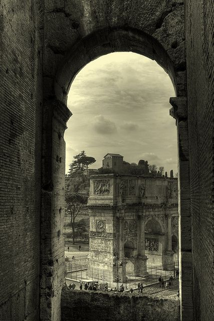 This photo was taken from Colosseum and shows the Arch of Constantine.