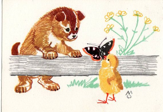 A. Laptev  Dog chick and butterfly postcard by sharonfostervintage, $4.00