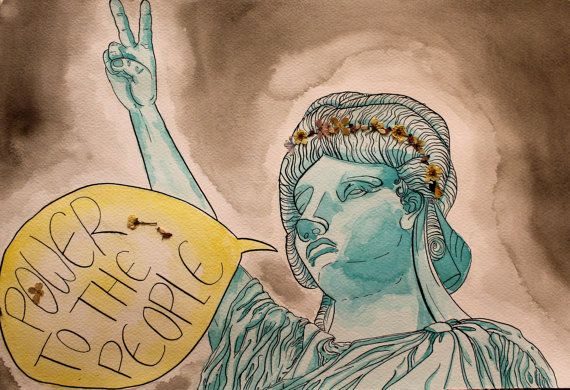 Original - Lady Liberty. Watercolor, ink and pressed flowers on watercolor paper. 12 by 18 painting. 2013.