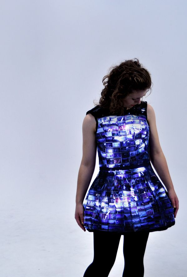 The creation is the work of Emily Steel, a student at Victoria University of Wellington's School of Design in New Zealand. As part of her Wearable Technology project she created the dress with the old film, LEDs and an Arduino Lilypad.
