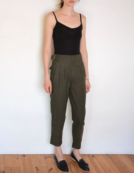 90's Benetton  wool  pants jacquard woven by WoodhouseStudios