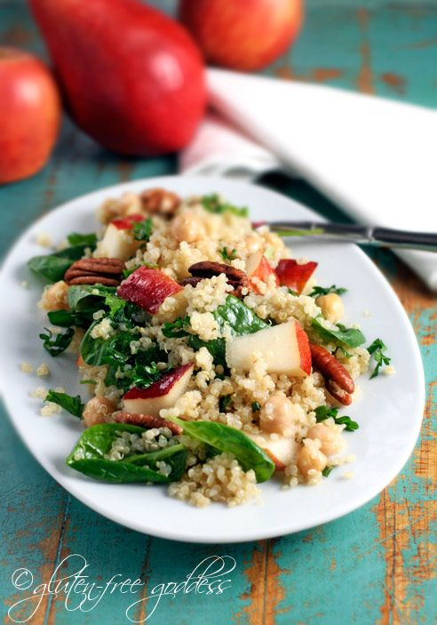 Quinoa salad with pears spinach chick peas and toasted pecans is a delicious and light gluten free vegan side dish