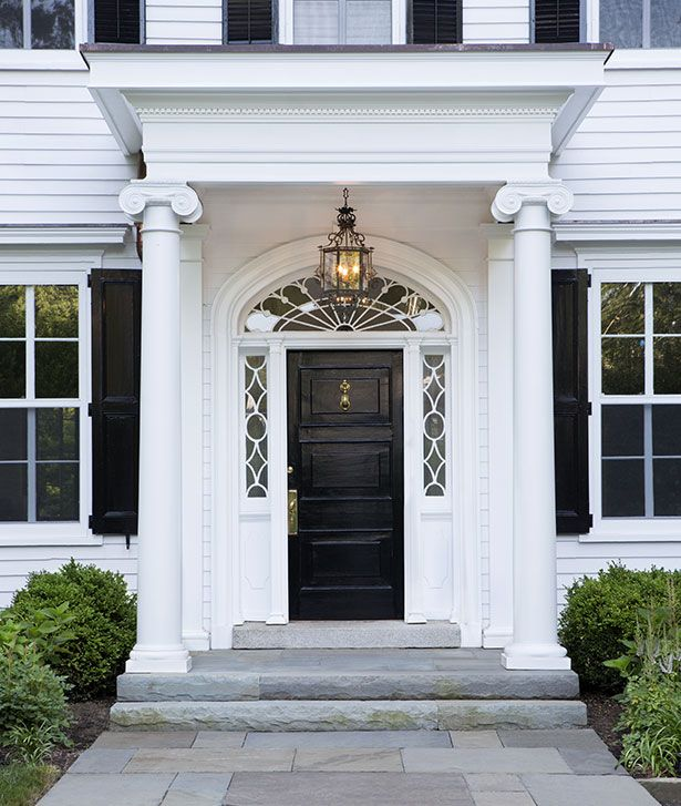Designed As A Natural Extension Of The Home The Front Porch Addition Is A Wonderful Enhancement To The Front Fac Colonial House Garage Door Styles Porch Steps