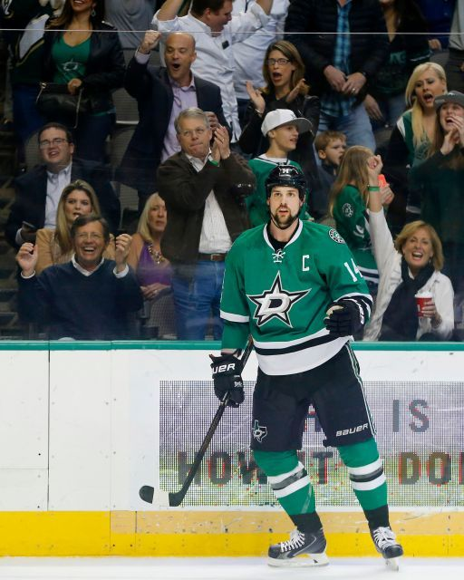 Islanders vs. Stars:  March 2, 2017  -  The Islanders beat the Dallas Stars, 5-4, on Thursday night at American Airlines Center in Dallas:  By NEWSDAY.COM  -     Fans react to Dallas Stars left wing Jamie Benn's (14) first period goal after scoring on a power play against the New York Islanders on Thursday, March 2, 2017 at the American Airlines Center in Dallas, Texas.