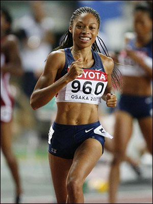 Allyson Felix .... Now Olympic Gold Medalist London 2012!!! Her teammates in high school used to call her Chicken Legs .... Guess they aren't laughing now, huh?!!?