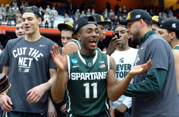 Lourawls Nairn Jr. (11) celebrates after the game against the Louisville Cardinals in the finals of the east regional of the 2015 NCAA Tournament at Carrier Dome. The Michigan State Spartans won 76-70.Mandatory Credit: Rich Barnes-USA TODAY Sports