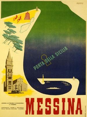 Messina Beach Vintage Travel Poster  Italy #essenzadiriviera www.varaldocosmetica.it olive oil cosmetics