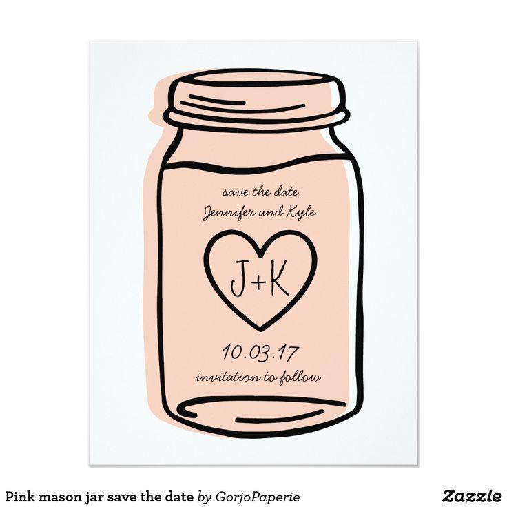 Pink mason jar save the date card