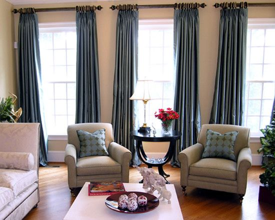 Living Room   Thick Curtain Rods With Tall, Heavy Faux Silk Curtains;  Either Sheer