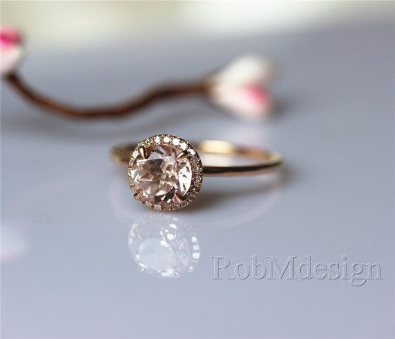 Runde 7mm Morganit Verlobungsring Halo Diamant-Ring von RobMdesign