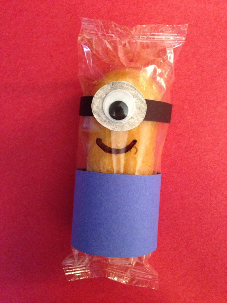 My version of a minion for a Valentines Day treat to send to school for the boys with their Despicable Me 2 V-day cards!