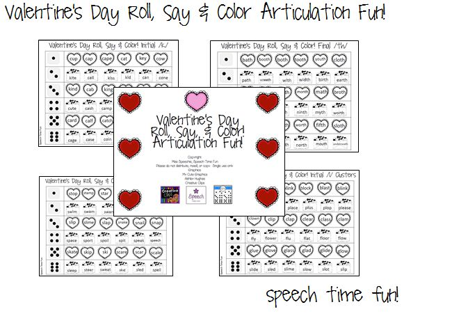 speech time fun valentine 39 s day roll say color articulation fun pinned by sos inc. Black Bedroom Furniture Sets. Home Design Ideas