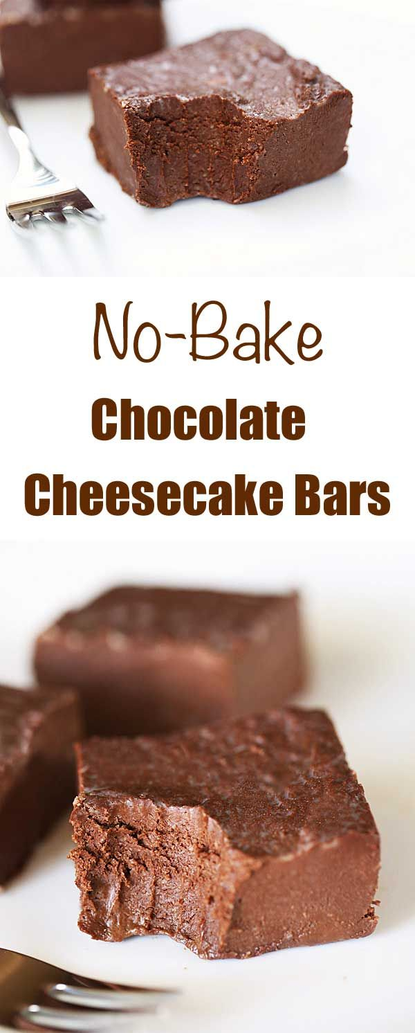 These no bake chocolate cheesecake bars are rich, creamy and decadent. And with just four wholesome ingredients, they are almost guilt free!