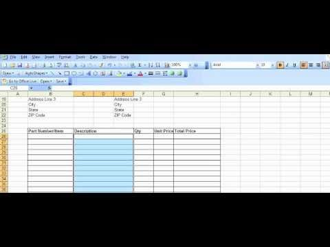 Example Purchase Order template created in Excel - YouTube - office manual template