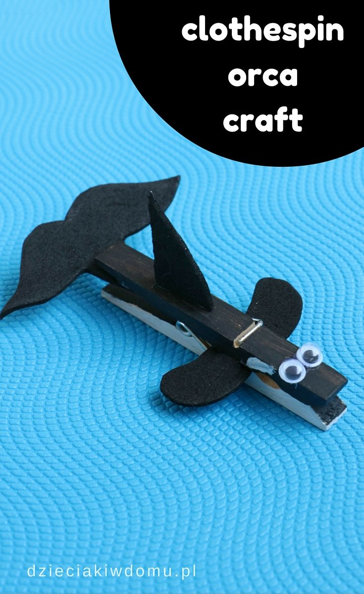 clothespin orca craft for kids                                                                                                                                                      More