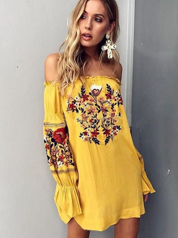 0674370a834c Bohemia Floral-Printed Off-the-shoulder Puff-sleeves Mini Dress ...
