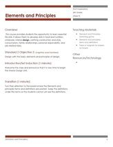 Standard 2 2 Elements Principles Of Design Facs Exploration Lesson Plans Pinterest