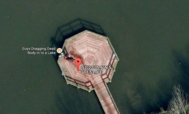 If you type in 52.376552, 5.198303 on Google Maps, you can see what is allegedly two guys dragging a dead body into a lake. | 23 Useless Facts That You Totally Need To Know