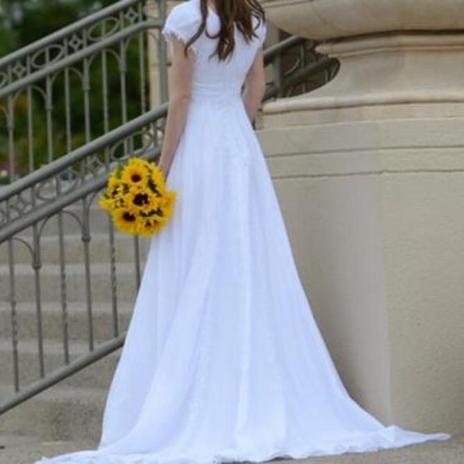 Short Sleeved Empire Waist Chiffon Wedding Dress – Davids Bridal