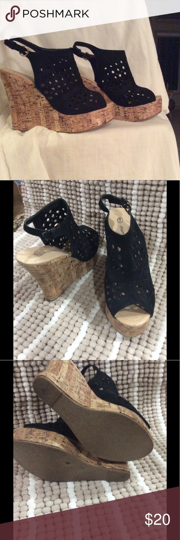"""CHARMING CHARLIE wedge shoes ladies 7 Black suede wedge platform heels in near perfect condition. 4.5"""" heels with 1.5 platform sole. Ladies 7. Buckle straps. Charming Charlie Shoes Sandals"""