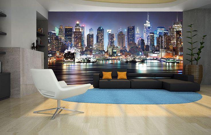 NEW YORK CITY NIGHT SKYLINE MANHATTAN VIEW Photo Wallpaper Wall Mural 335x236cm in Home, Furniture & DIY, DIY Materials, Wallpaper | eBay