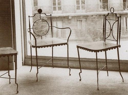 An Elegant Set Of Gilbert Poilleret Chairs, Master Metal Worker.