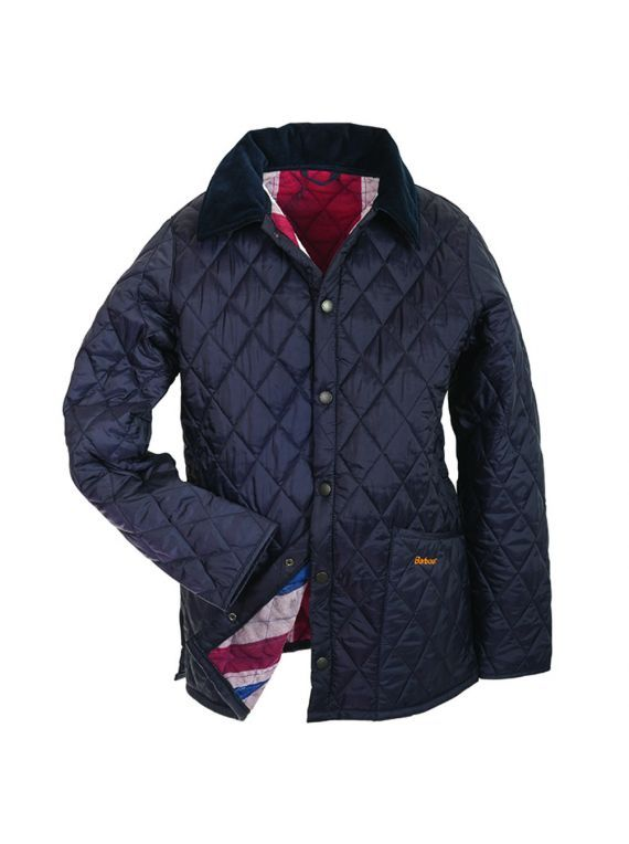 £69.90 Barbour kids navy union jack lined quilted liddesdale