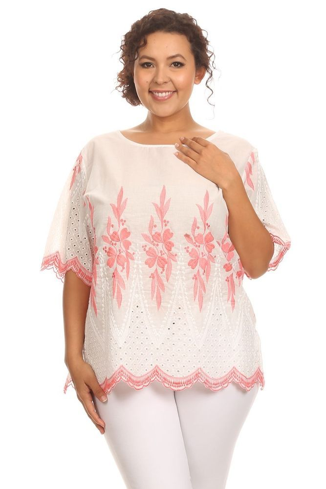 Pink & White Floral Scallop-Hem Plus Size Top (in size 2X or 3X) #EssentialCollectionPlusSize #Blouse #Casual
