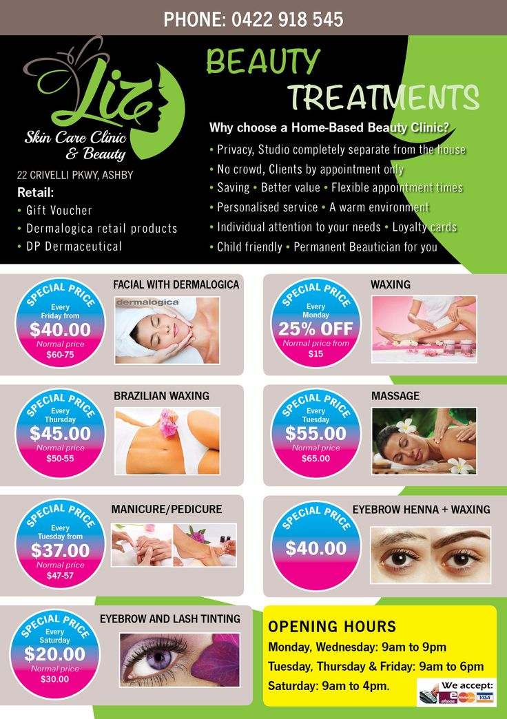 Liz Skin Care Clinic & Beauty A5 Flyer (Front)