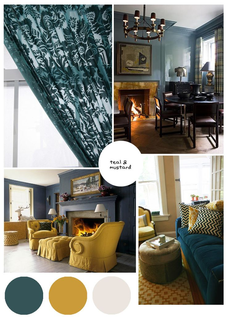 Color palette inspo dark teal and mustard offices Mustard living room ideas