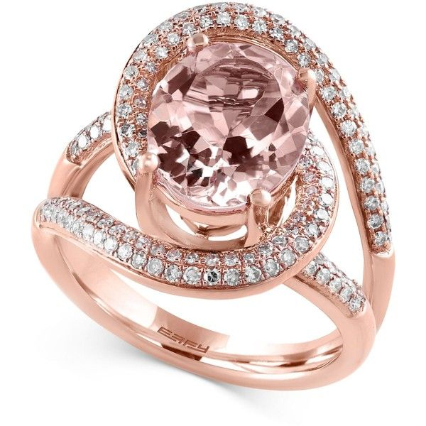 Blush By Effy Morganite (3-1/4 ct. t.w.) and Diamond (1/2 ct. t.w.)... ($2,750) ❤ liked on Polyvore featuring jewelry, rings, rose gold, 14k jewelry, oval cut ring, red gold ring, 14 karat gold ring and diamond rings