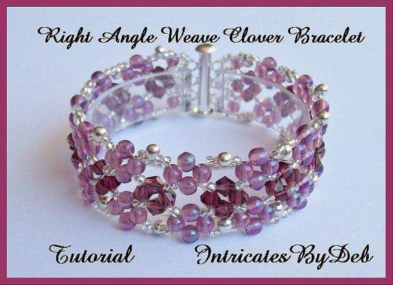 Tutorial Beaded Right Angle Weave Clover por IntricatesByDeb