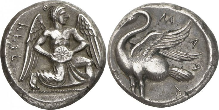 Rare Silver Stater with Ahura Mazda or Mithra From Mallos, Cilicia, C. 425-385 BC. Obverse: Winged male deity (Ahura Mazda? or Mithra?) advancing right, holding solar disc with both hands; Aramaic in legend. Reverse: MAΛP , swan standing to left,...