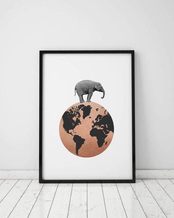 ELEPHANT PRINTABLE Rose Gold Wall Art Elephant by TheFactory17