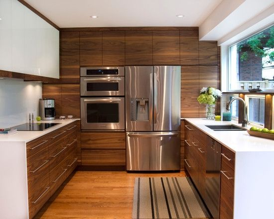 The White Walls In This Transitional Kitchen Space Provide A Nice Backdrop  For The Beautiful, · Waterfall CountertopCompact KitchenWood CabinetsWalnut  ...