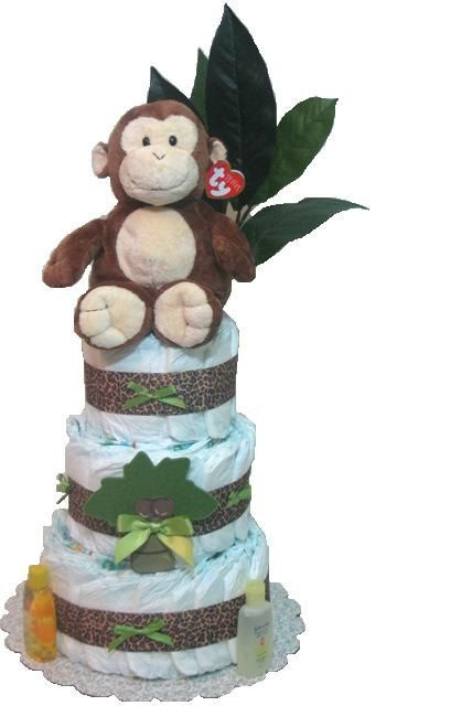 Monkey Diaper Cake Safari Diaper Cake Jungle by DiaperCakesbyRuby