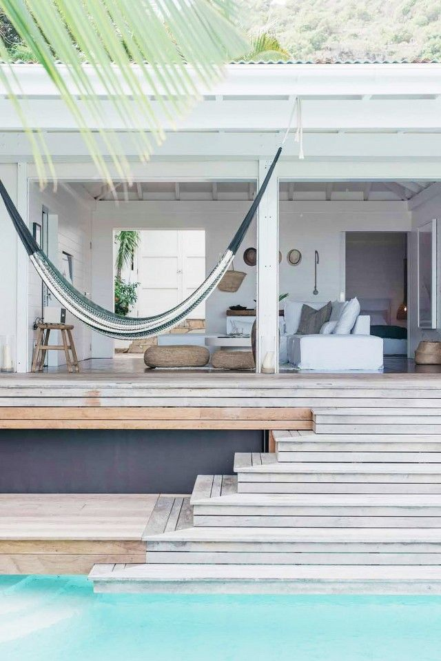 Elegant outdoor space with a hammock