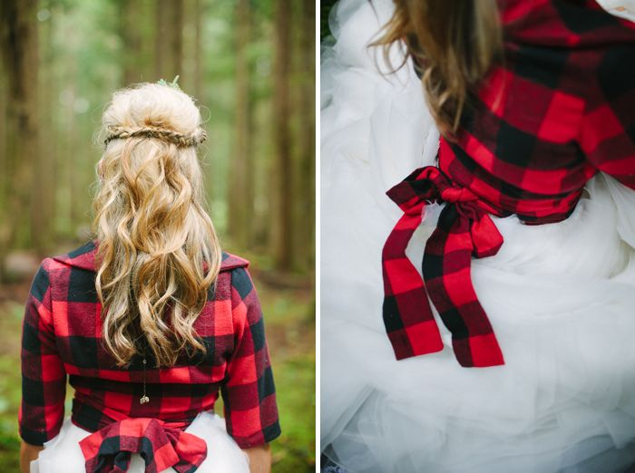 Throw on a flannel for a winter wedding in the woods.