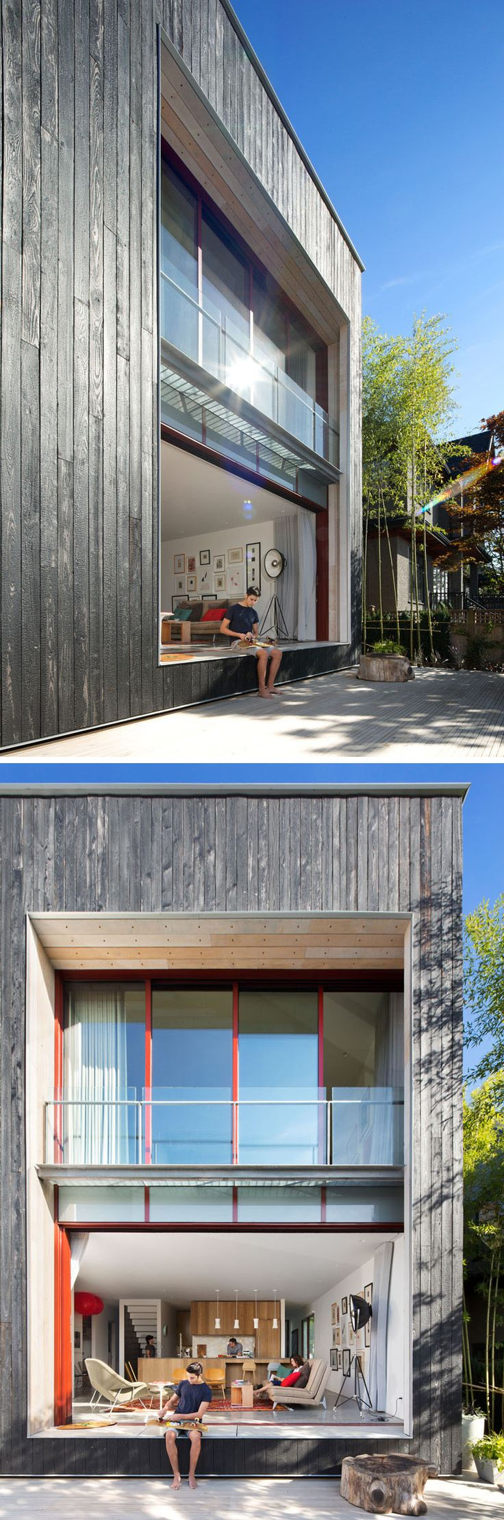 At the rear of this modern house re purposed white washed boardform boards