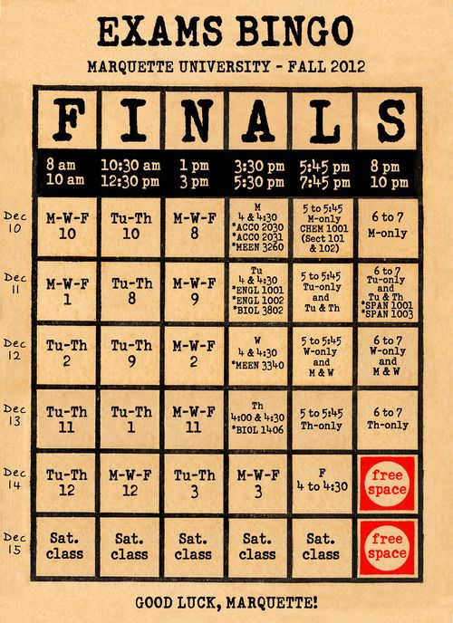 Exam Schedule Bingo: When I was a student at Marquette University, the exam schedule was a page in the printed Schedule of Classes. Each semester, I would circle my finals in the grid, like playing an odd game of exam schedule bingo. Today, you can summon your exam schedule from your phone on Mobile CheckMarq. Marquette students can still play exam schedule bingo, whether using the official final exam schedule web page or this handy bingo card for Fall 2012 exams. Good luck on finals…