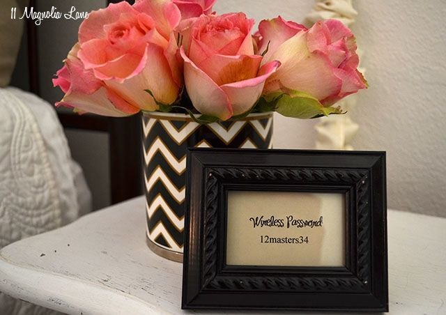 How to Be a Great Host or Hostess: 101 {tip: print and frame your wireless password} | 11 Magnolia Lane