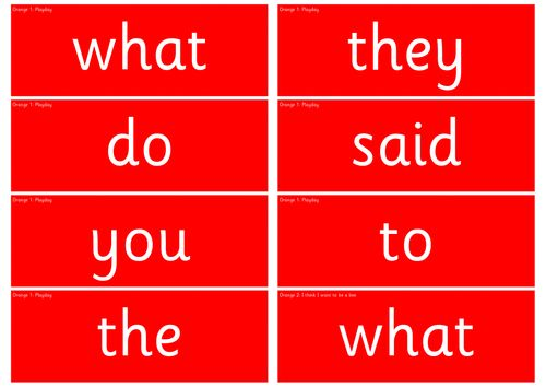 Read Write Inc. Orange Red, Green and Power Word Cards
