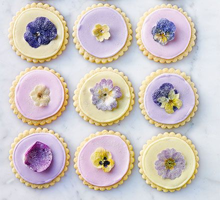Sugared flower shortbreads.