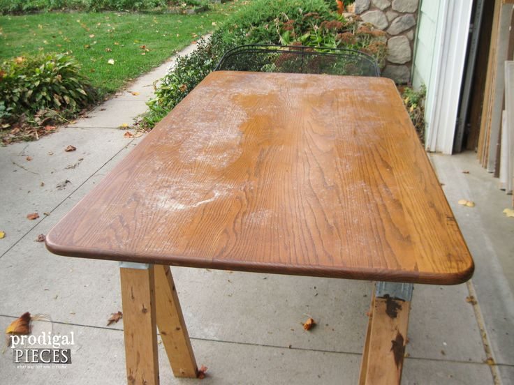 Farmhouse Table Before Whitewashed | Prodigal Pieces | www.prodigalpieces.com