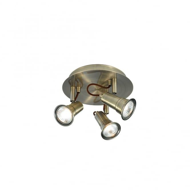 This ceiling spot light cluster features 3 individual spot lights all fixed to a round ceiling plate, the spots are adjustable and the light comes in an antique brass finish. It is supplied with 3 GU10 halogen bulbs. This would look great in any traditional setting and would be ideal for lighting in rooms such as kitchens, it would also be suitable for rooms with low ceilings given its drop of only 12cms.