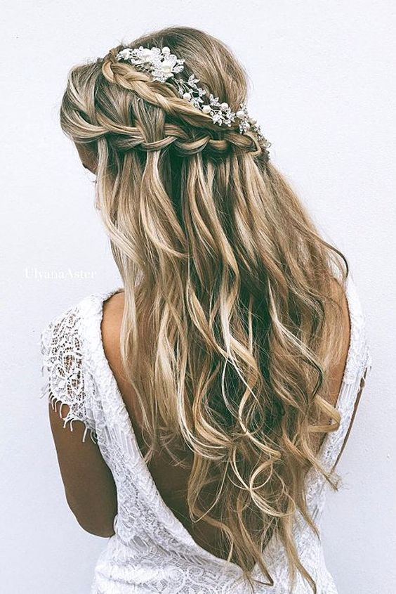 half up half down waterfall wedding hairstyle