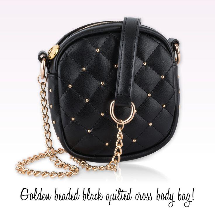 Achilleas accessories | Golden beaded black quilted cross body bag!