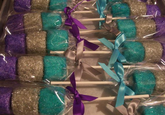 Sugar Coated Marshmallow Pops ~ 1 dozen NOTE: They are not coated in Chocolate... However...(There is a dot of chocolate at the end and in between each marshmallow to hold them together). The White / Silver / Blue were done for a Frozen ~ Winter Wonderland Theme Let me know what color