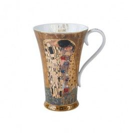 """Goebel - Artis Orbis - Gustav Klimt - The Kiss - Artist mug - Porcelain Artist mug with gold-plated décor showing """"The Kiss"""" by Gustav Klimt. Dishwasher safe but recommended to wash by hand with a mild cleanser to preserve the brilliant colours and gold decor.. Height: 15 cm. Diameter: 13.5 cm. Content: 0.5 l."""